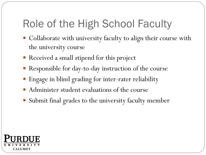 Role of the High School Faculty