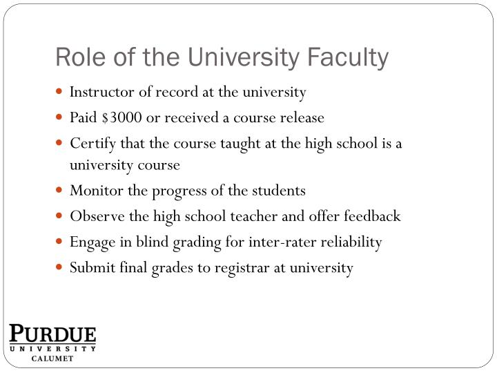 Role of the University Faculty