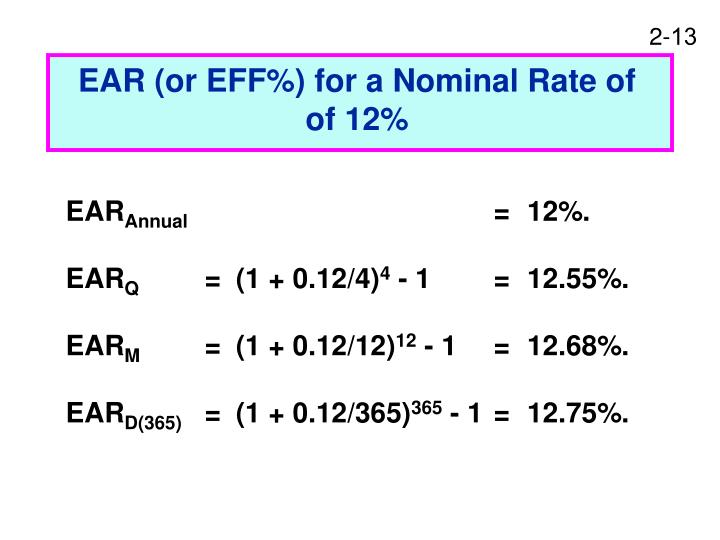 EAR (or EFF%) for a Nominal Rate of  of 12%