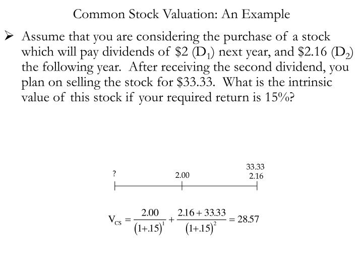Common Stock Valuation: An Example