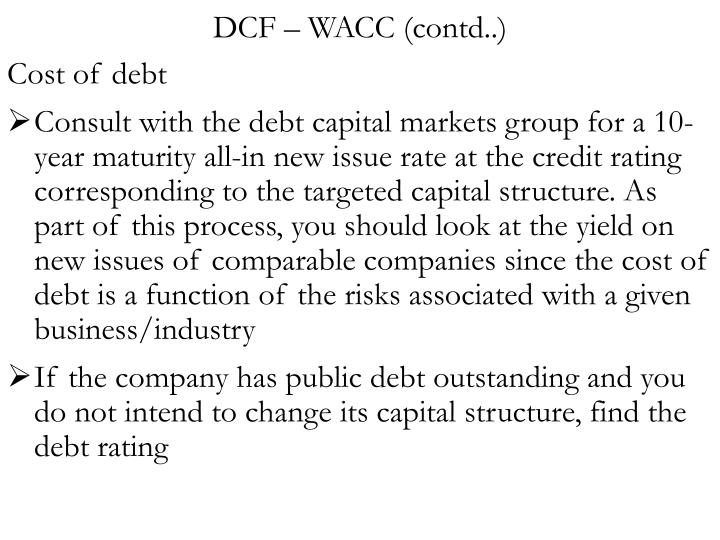 DCF – WACC (contd..)