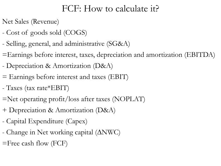 FCF: How to calculate it?