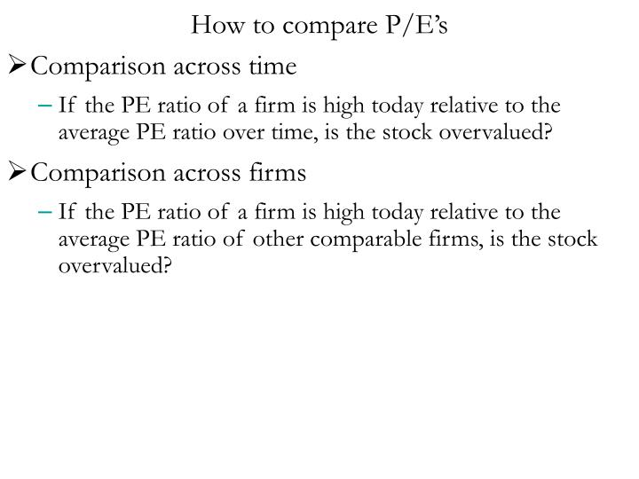 How to compare P/E's