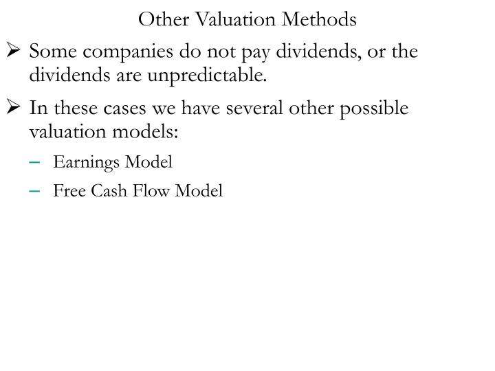 Other Valuation Methods