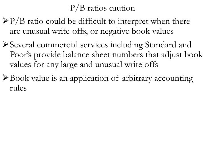 P/B ratios caution