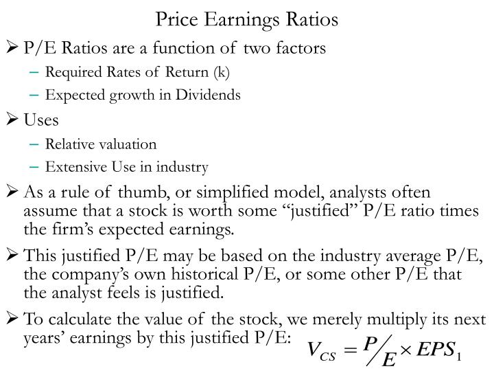 Price Earnings Ratios
