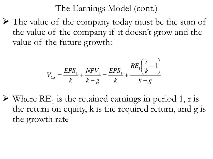 The Earnings Model (cont.)