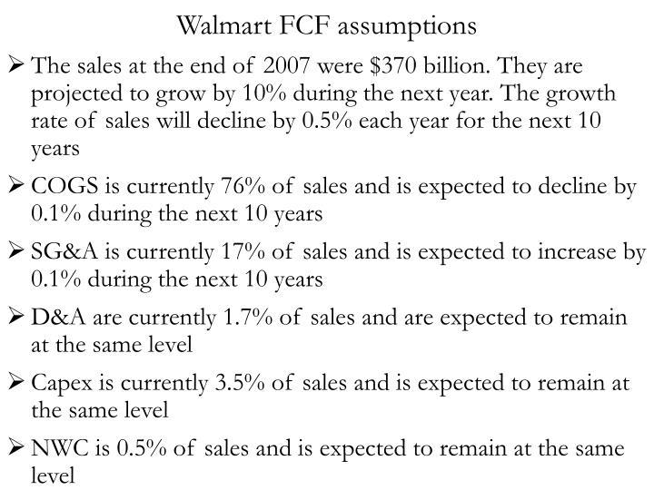 Walmart FCF assumptions