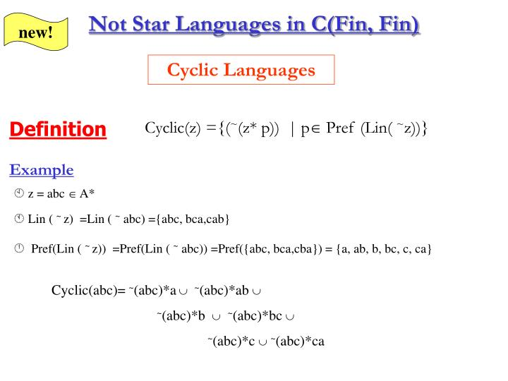Not Star Languages in C(Fin, Fin)