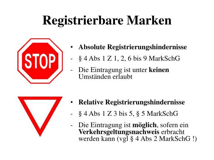 Registrierbare Marken