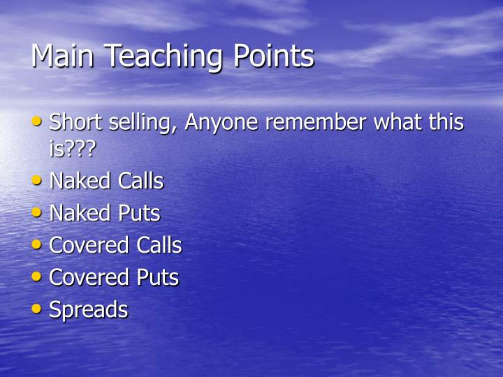 Main Teaching Points