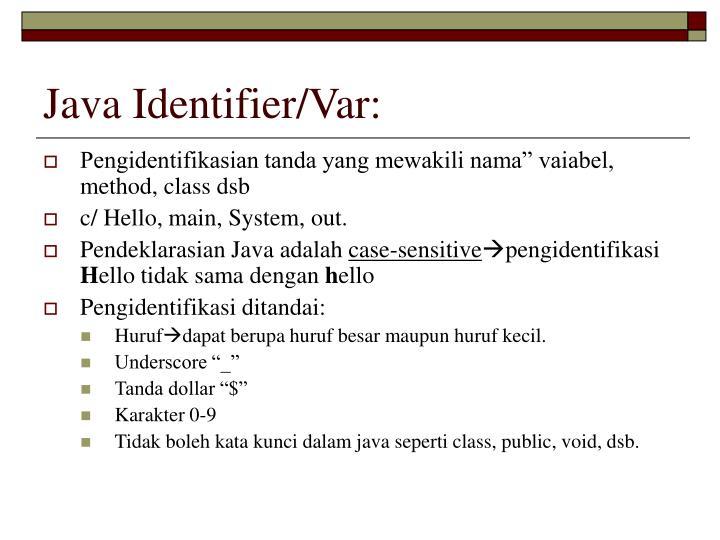 Java Identifier/Var: