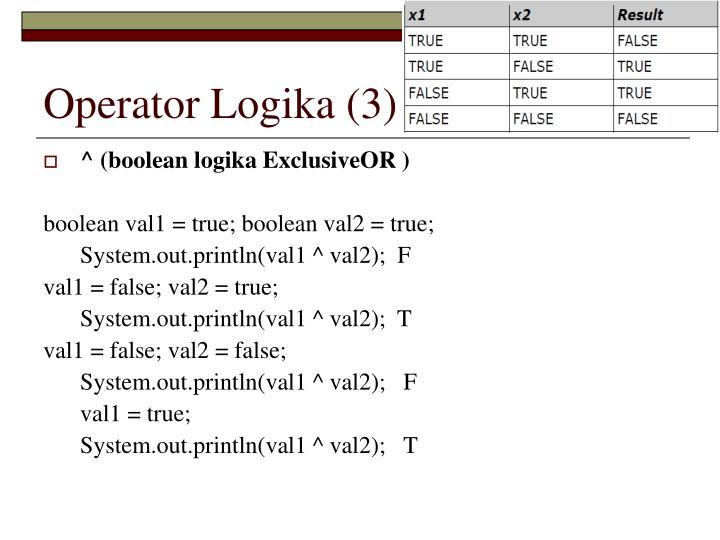 Operator Logika (3)