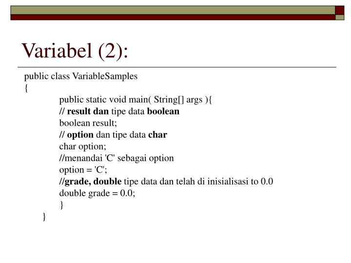 Variabel (2):