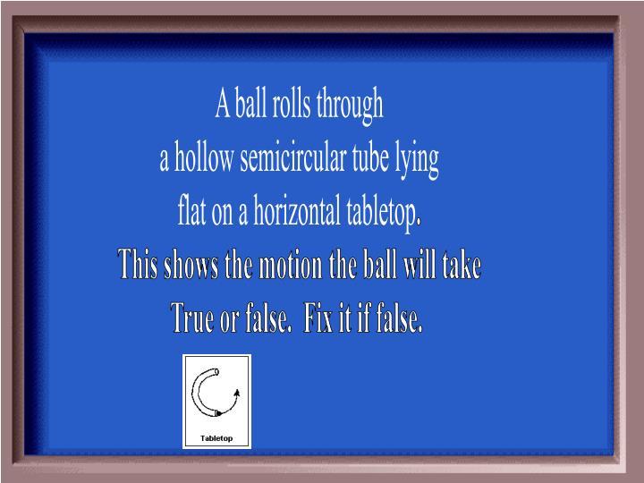 A ball rolls
