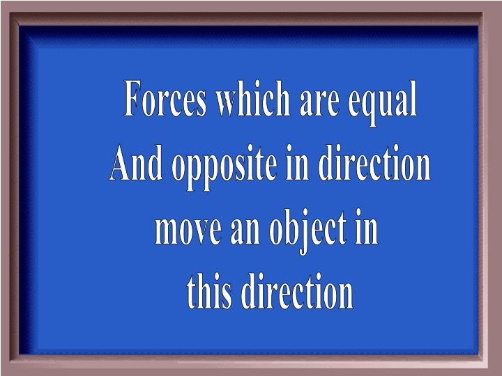Forces which are equal