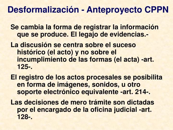 Desformalización - Anteproyecto CPPN