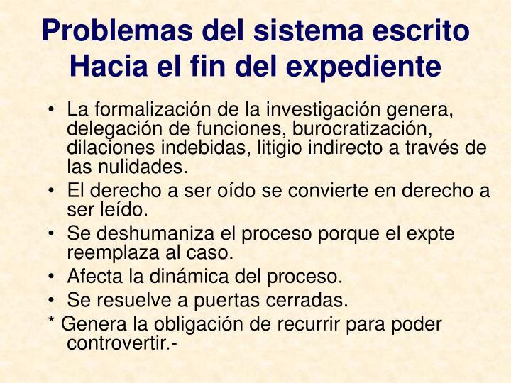 Problemas del sistema escrito