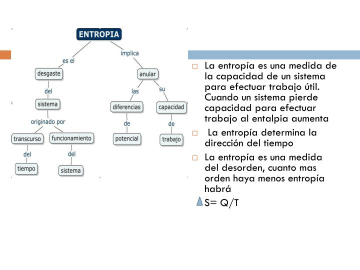 La entropía es una medida de la capacidad de un sistema para efectuar trabajo útil. Cuando un sistema pierde capacidad para efectuar trabajo al entalpia aumenta