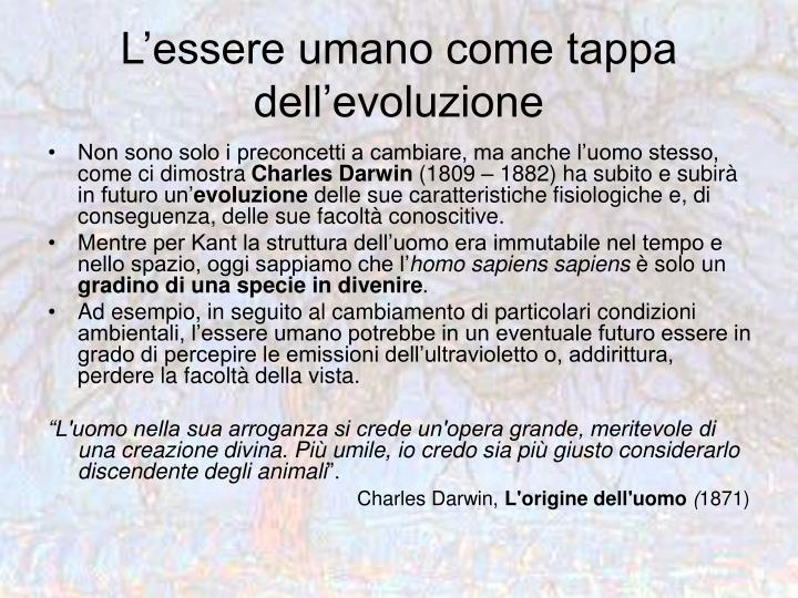 L'essere umano come tappa dell'evoluzione