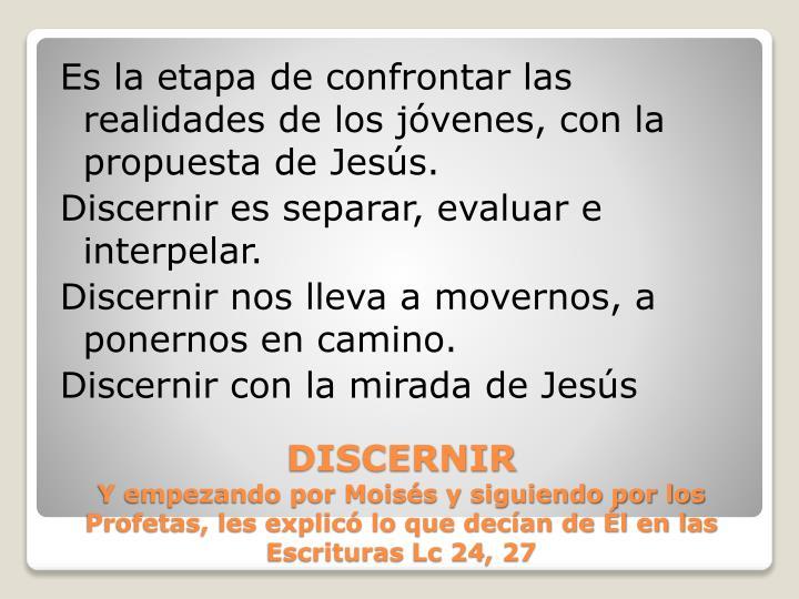 Es la etapa de confrontar las realidades de los jóvenes, con la propuesta de Jesús.