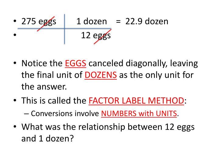 275 eggs         1 dozen    =  22.9 dozen