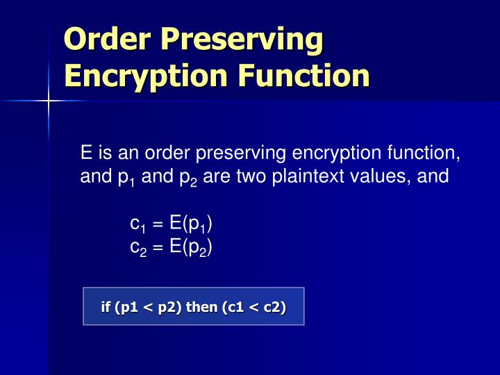 Order Preserving Encryption Function