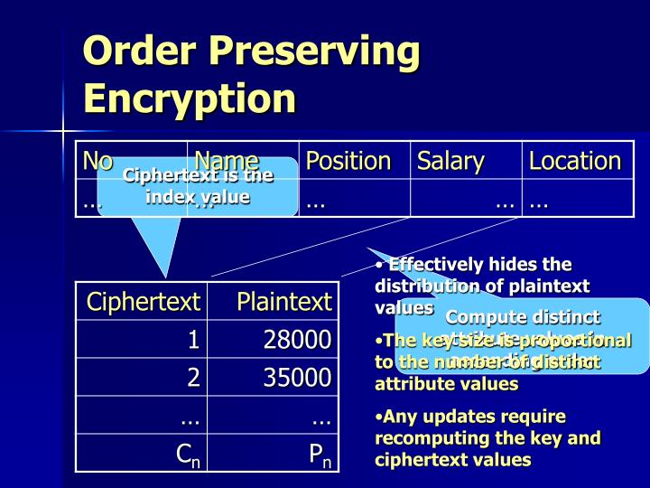 Order Preserving Encryption