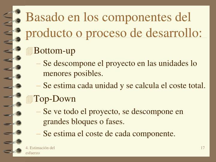 Basado en los componentes del producto o proceso de desarrollo: