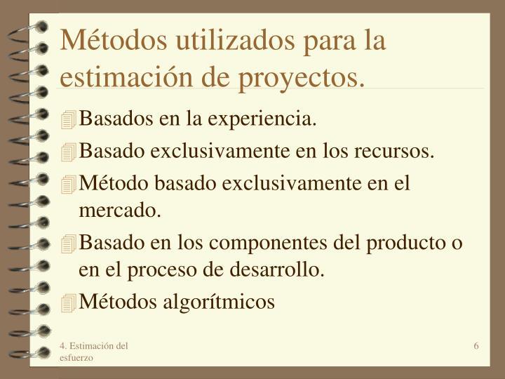 Métodos utilizados para la estimación de proyectos.