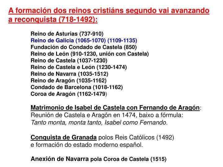 A formación dos reinos cristiáns segundo vai avanzando a reconquista (718-1492):