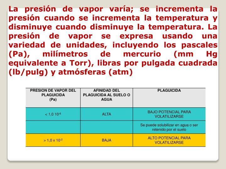 La presión de vapor varía; se incrementa la presión cuando se incrementa la temperatura y disminuye cuando disminuye la temperatura. La presión de vapor se expresa usando una variedad de unidades, incluyendo los pascales (Pa), milímetros de mercurio (mm Hg equivalente a Torr), libras por pulgada cuadrada (lb/