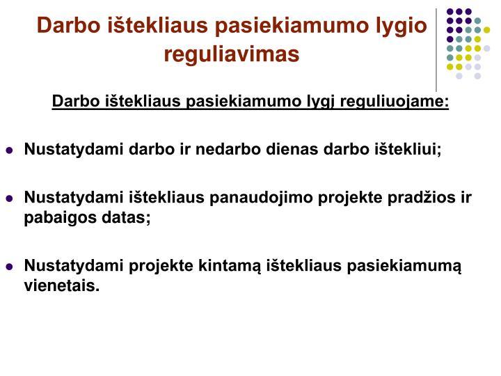 Darbo ištekliaus pasiekiamumo lygio reguliavimas
