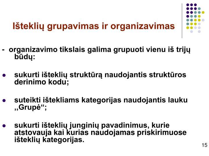 Išteklių grupavimas ir organizavimas