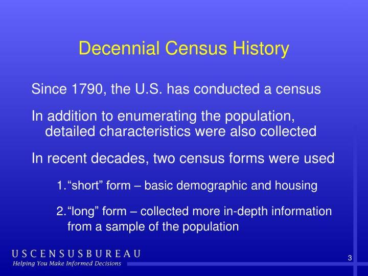 Decennial Census History