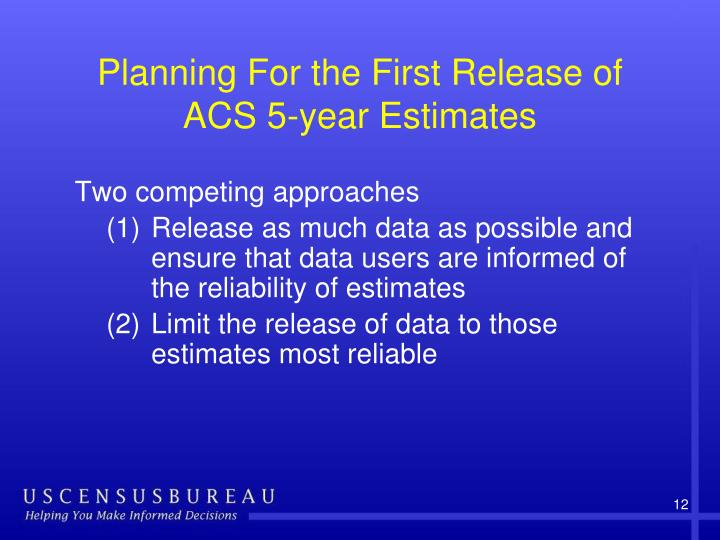 Planning For the First Release of ACS 5-year Estimates