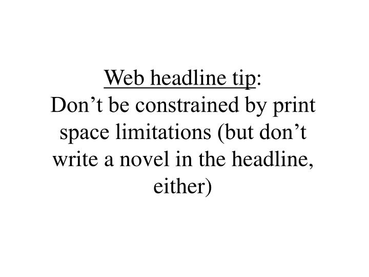 Web headline tip