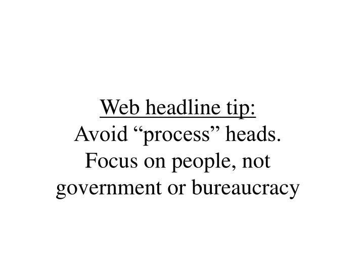 Web headline tip: