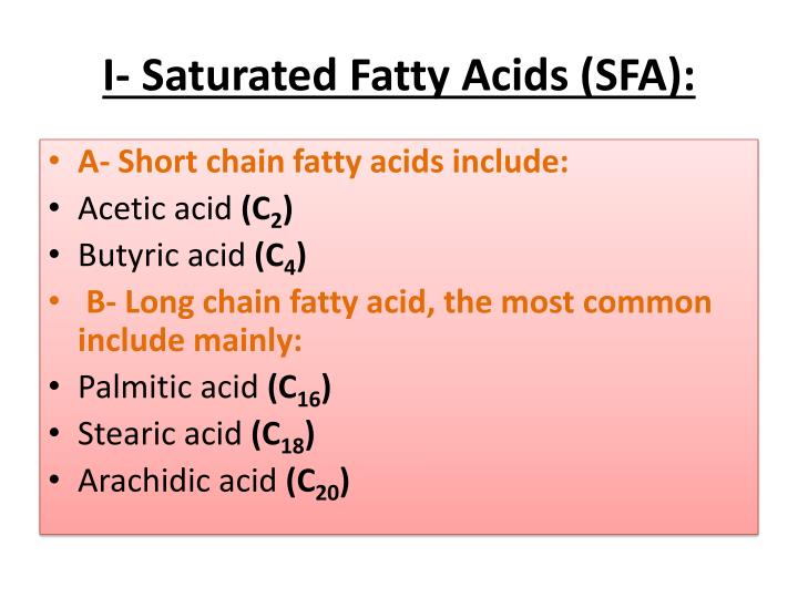 I- Saturated Fatty Acids (SFA):