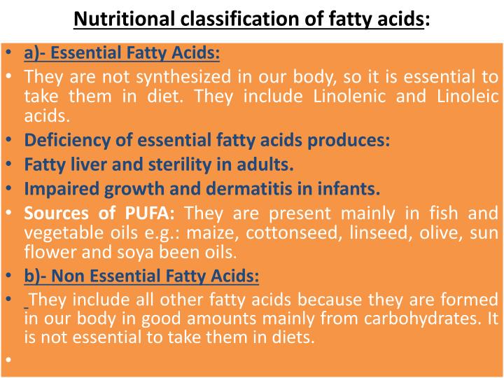 Nutritional classification of fatty acids