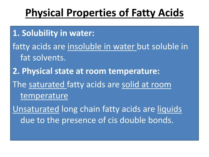 Physical Properties of Fatty Acids