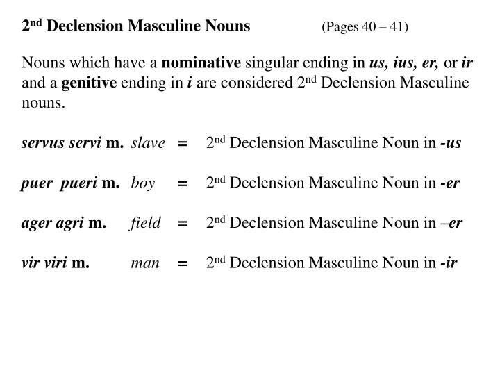 2 nd declension masculine nouns pages 40 41