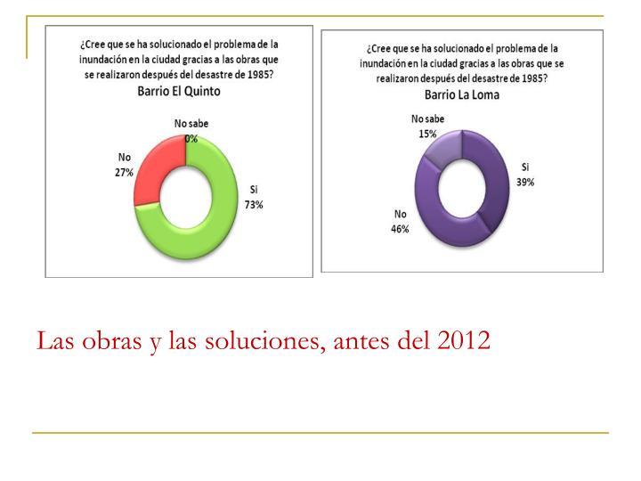 Las obras y las soluciones, antes del 2012