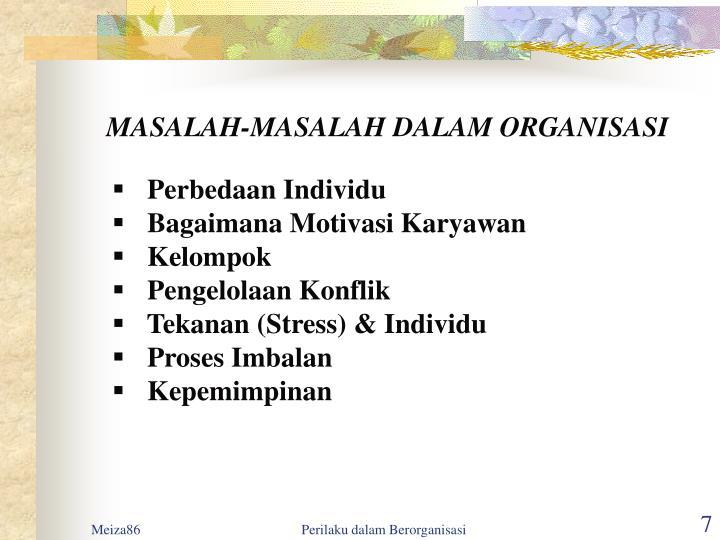 MASALAH-MASALAH DALAM ORGANISASI