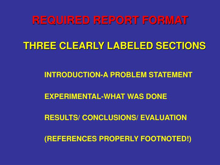 REQUIRED REPORT FORMAT