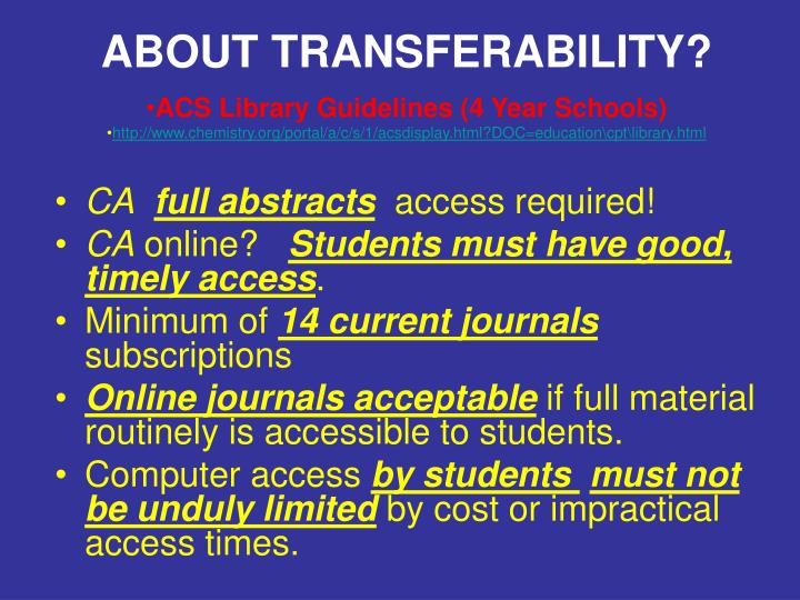 ABOUT TRANSFERABILITY?