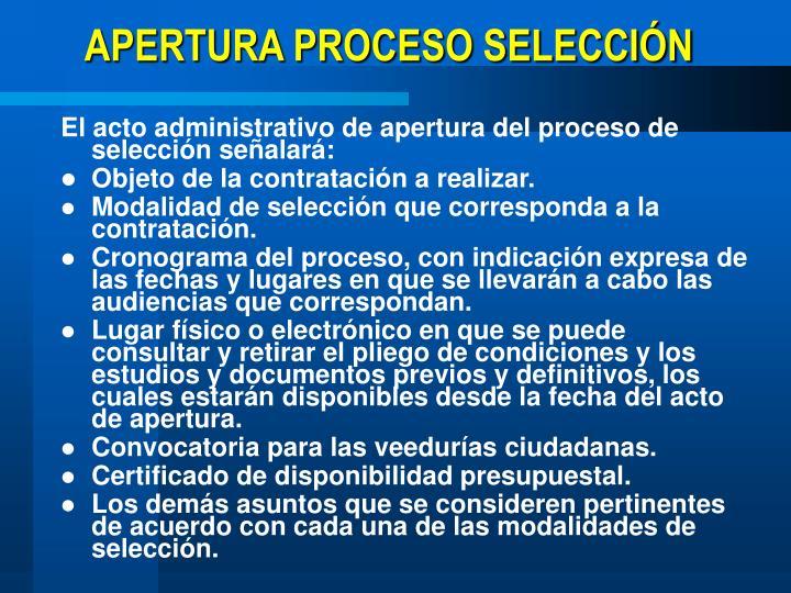 APERTURA PROCESO SELECCIÓN