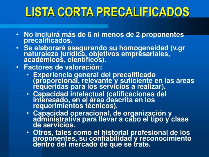 LISTA CORTA PRECALIFICADOS