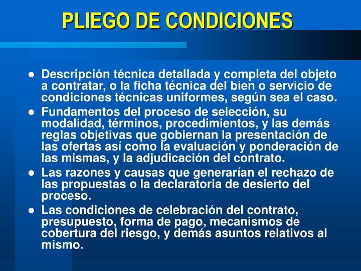 PLIEGO DE CONDICIONES