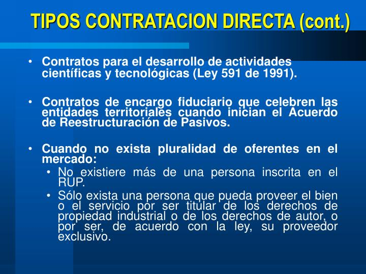 TIPOS CONTRATACION DIRECTA (cont.)